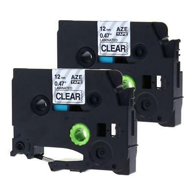 TZe-131 Black on Clear P-touch Label Tape Compatible for Brother 12mm 2pk