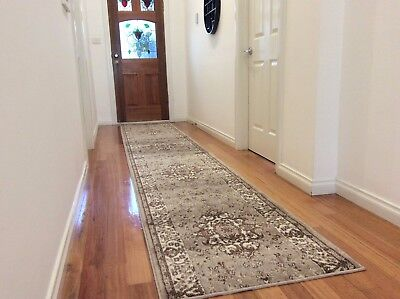 Hallway Runner Hall Runner Rug Traditional Beige 750cm Long FREE DELIVERY 089