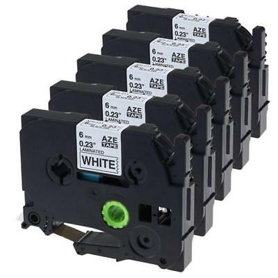 5pk TZe-211 Compatible for Brother P-Touch Black on White 1/4 Inch Label Tape
