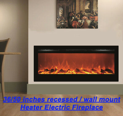 """36""""- 72"""" Black Built-In Recessable / Wall Mounted Heater Electric Fireplace"""