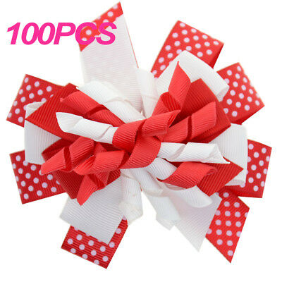 100PCS Grosgrain Ribbon Korker Bow with Clip for Babies Toddlers Girls