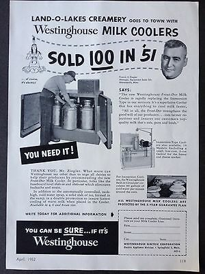 Vintage 1952 Ad {Xx21}~Westinghouse Milk Coolers. Used By Land-O-Lakes Creamery