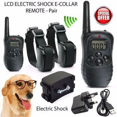 Electric LCD Rechargeable Shock E-Collar 2 Dog Remote Control Training Anti-Bark