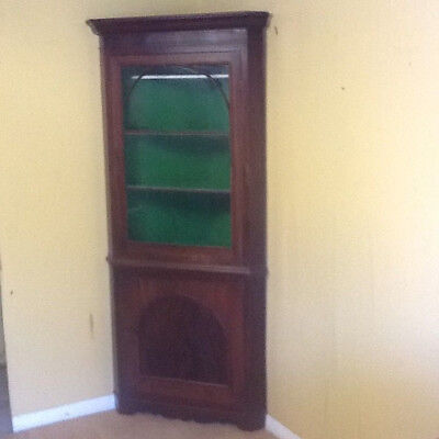 Victorian glazed top mahogany floor standing double decker corner cupboard