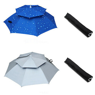 Foldable Sun Umbrella Hat Outdoor Golf Fishing Camping Headwear Head Hat Cap AU