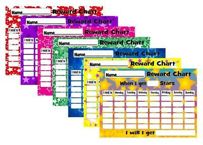 RE-USEABLE REWARD BEHAVIOUR CHART free stars & pen FREE POSTAGE