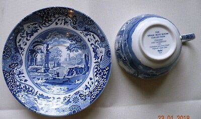 "Spode England Blue Room Collection ""Italian"" Jumbo 20oz Cup & Saucer Set"