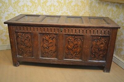 Rare 17th Century Oak Inlaid/Marquetry Coffer