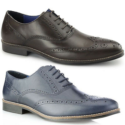 e67009b8b80a3 Mens New Leather Oxford Wingtip Formal Office Brogue Smart Casual Wedding  Shoes