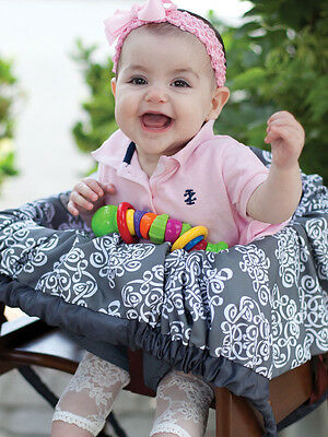 Grocery Cart Cover-5 in 1Play Mat,Changing Pad,Diaper Bag, Etc.-Royal Mist