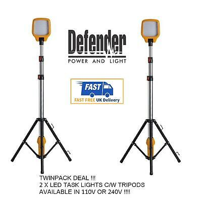 2 x DEFENDER Task Light LED Site Work Lighting | Telescopic Tripod 110v | 240v