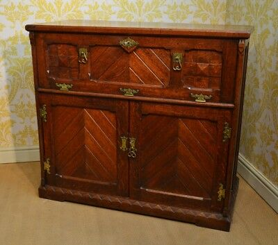 A Lovely Oak Arts and Craft  Secretaire Cabinet