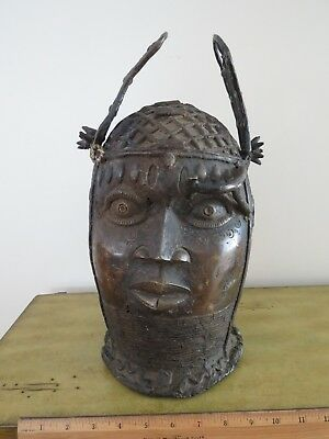 Large Heavy African Africa Benin Bronze Head Sculpture Mask ?