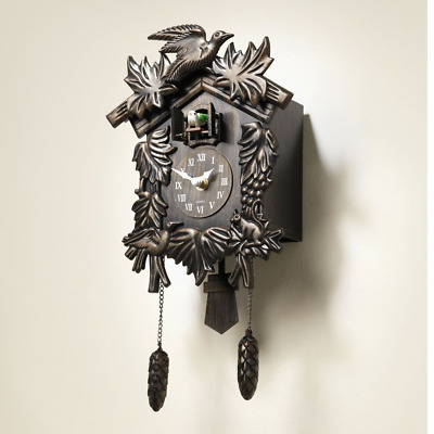Wall Clock Feldburg Cuckoo Pendulum Quartz Antique Finish With Background Noises