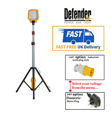 Defender LED Task Light Telescopic Tripod 240v/110v Work Site Lighting 900 LUMEN