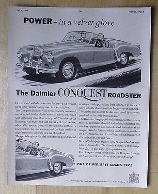 Daimler Conquest Roadster Original Vintage Advert May 1954