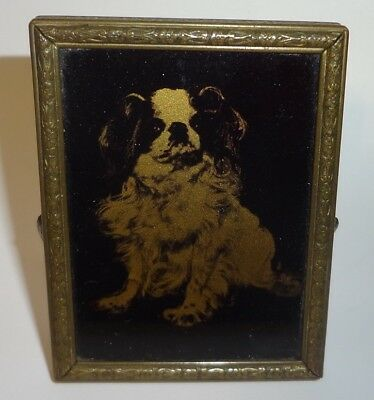 Vintage King Charles Cavalier Spaniel Dog Small Easel Back Mirror