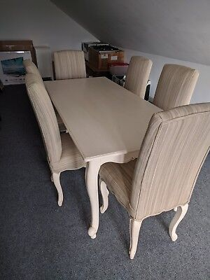 Shabby Chic French Country Style Dining Table and 6 Dining Chairs