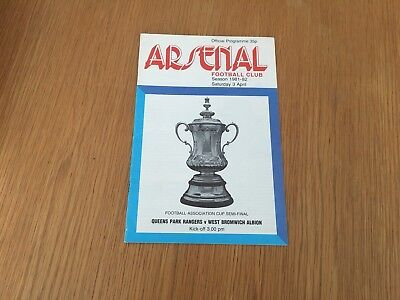 ARSENAL - Q.P.R v WEST BROMWICH ALBION (F.A Cup) 1981/82