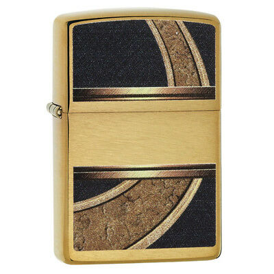Zippo 28673 Genuine Refillable Windproof Lighter - Gold And Black Brushed Brass