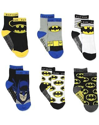 Batman Justice League Boy's 6 pack Socks with Grippers (Baby/Toddler) BM7776