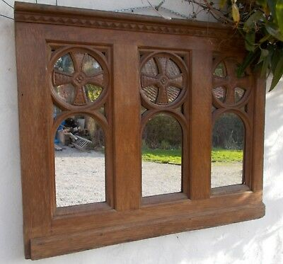 antique mirror oak polished French reclaimed  carved panel