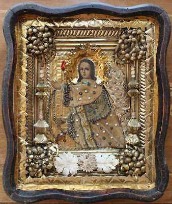 """Antique 19c Hand Painted Wood Icon """"Angel of Prayer"""""""