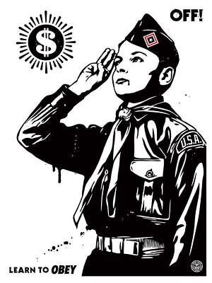 LEARN TO OBEY screen print by shepard fairey, signed, numbered