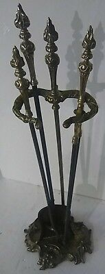 Antique Brass Fireplace Tools Set With Stand