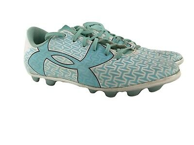 Under Armour Girls Youth Aqua White Athletic Cleats Shoes Size 5Y