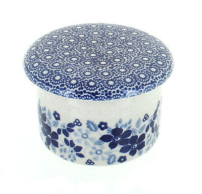 Blue Rose Polish Pottery Elizabeth French Butter Dish