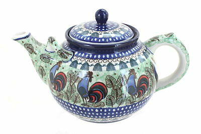 Rooster Row Large Teapot Polish Pottery