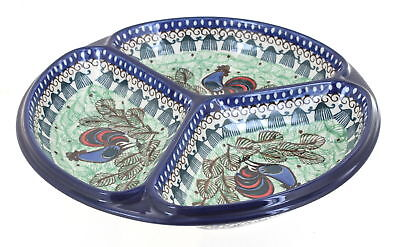 Rooster Row Three Part Divided Dish Polish Pottery