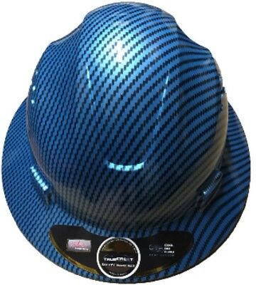 Fiberglass  Full Brim Hard Hat Blue/Silver with Fas-trac Suspension