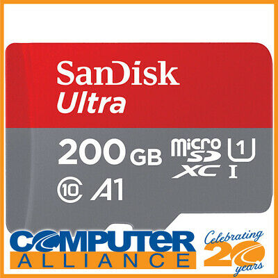 200GB SanDisk Ultra microSDXC UHS-I A1 Class 10 Card SDSQUAR-200G-GN6MA with SD