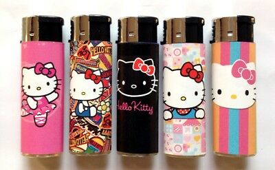 5 Cigarette Lighters Refillable Hello Kitty Pink Assorted Butane Cigar Windproof