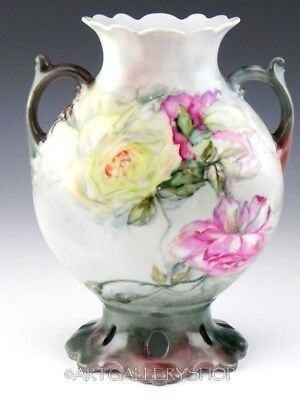 Antique Jean Pouyat Limoges France HANDPAINTED ROSES & BUTTERFLY HANDLED VASE