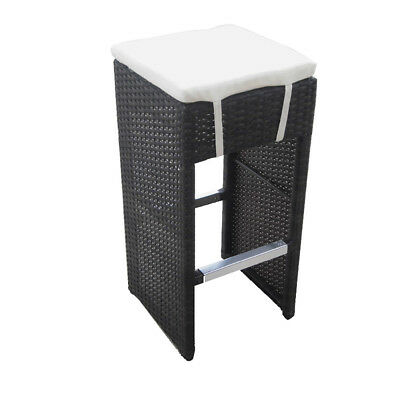 New! Woven Wicker Outdoor Bar Chair - Rattan Barstool - Hampton-Set Of 4