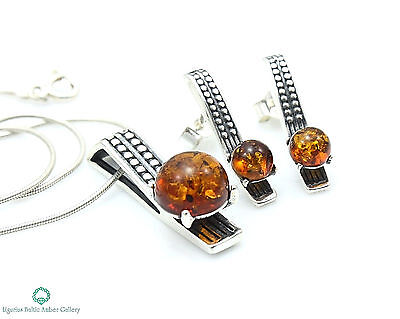 NATURAL BALTIC AMBER SILVER 925 EARRINGS & PENDANT + CHAIN SET Certified BOX