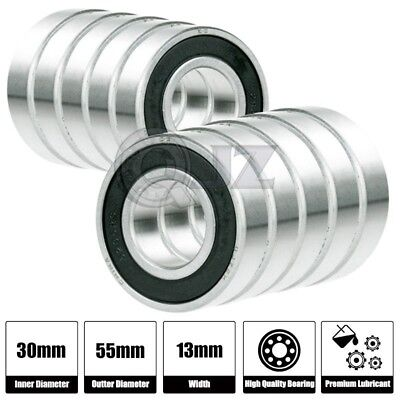 10x 6306-2RS Ball Bearing 30mm x 72mm x 19mm Rubber Sealed RS 2RS  w// Snap Ring
