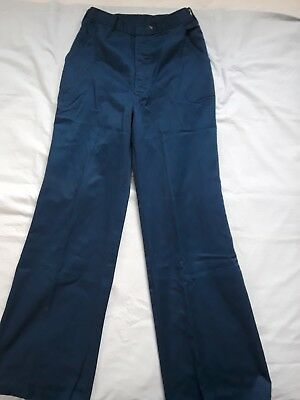 Vintage 70s cotton high waisted wide leg womens pants navy blue