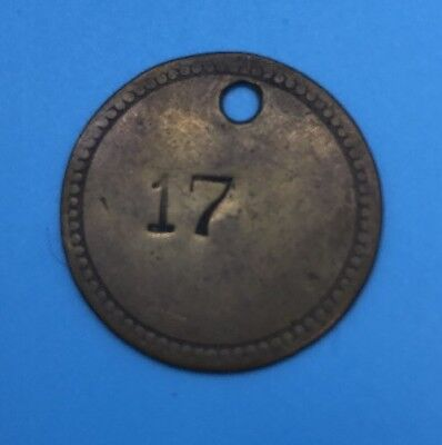 Antique Vintage Brass Tool Or Key Chain Tag Lucky Number #17