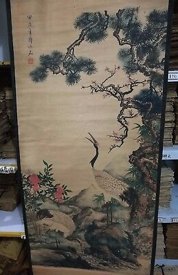 Exquisite Chinese Paper Ink Qi baishi two cranes Statue Scroll