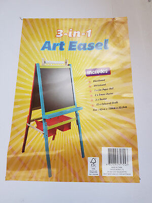Kids 3-in-1 Art Easel Blackboard Whiteboard Paper New Never Used
