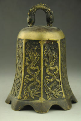 Chinese Buddhism Temple Brass copper Dragon Beast Statue bell