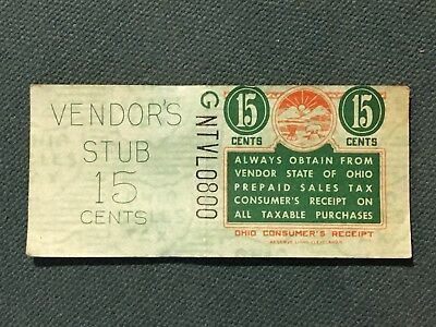 US collection state revenue Ohio 15 Cent tax stamp w/ receipt MINT