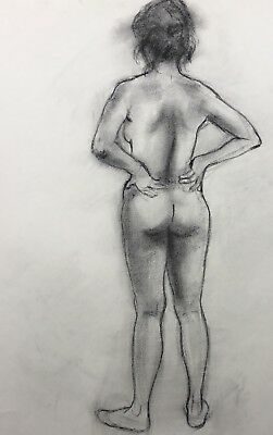Vintage Original Life Drawing Nude Female figure Charcoal Sketch Signed 18x24