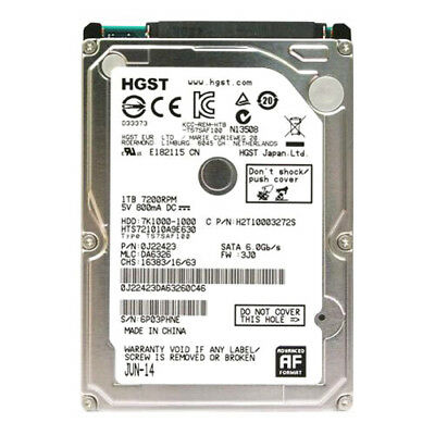 "Hitachi 1TB HTS721010A9E630 7200RPM 32MB SATA III 2.5"" Laptop HDD Hard Drive"