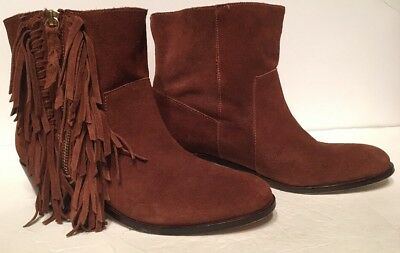 efda20cea19 Cynthia Vincent Nibble Women Chestnut Brown Leather Fringe Ankle Boots 7.5
