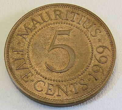 Nice 1969 MAURITIUS Large 5 Cents Coin Lot 1503
